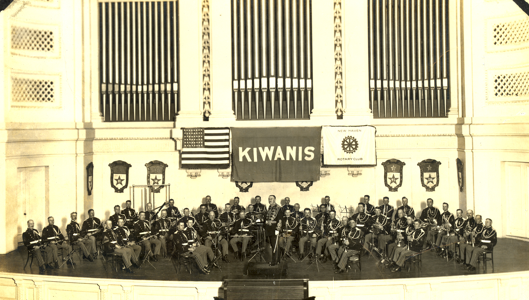 The Marine Band on tour at Woolsey Hall at Yale University in New Haven, Conn., on Oct. 18, 1921.