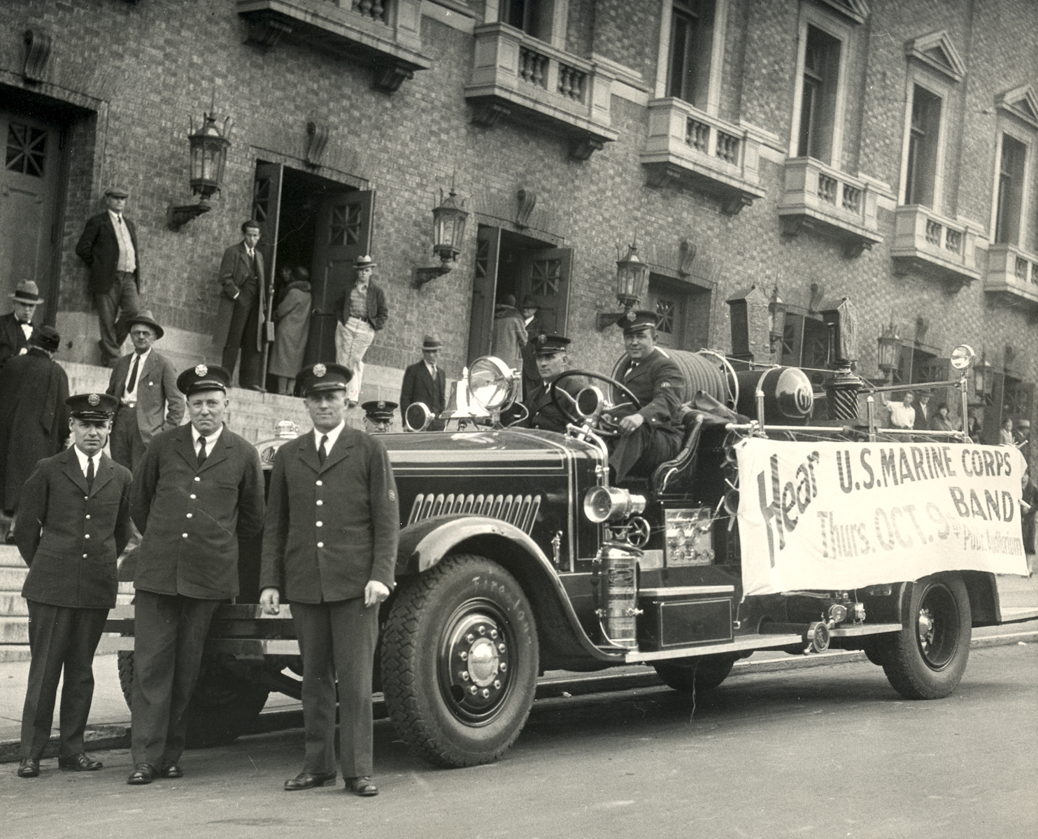 The Marine Band on tour in Portland, Ore., on Oct. 9, 1930