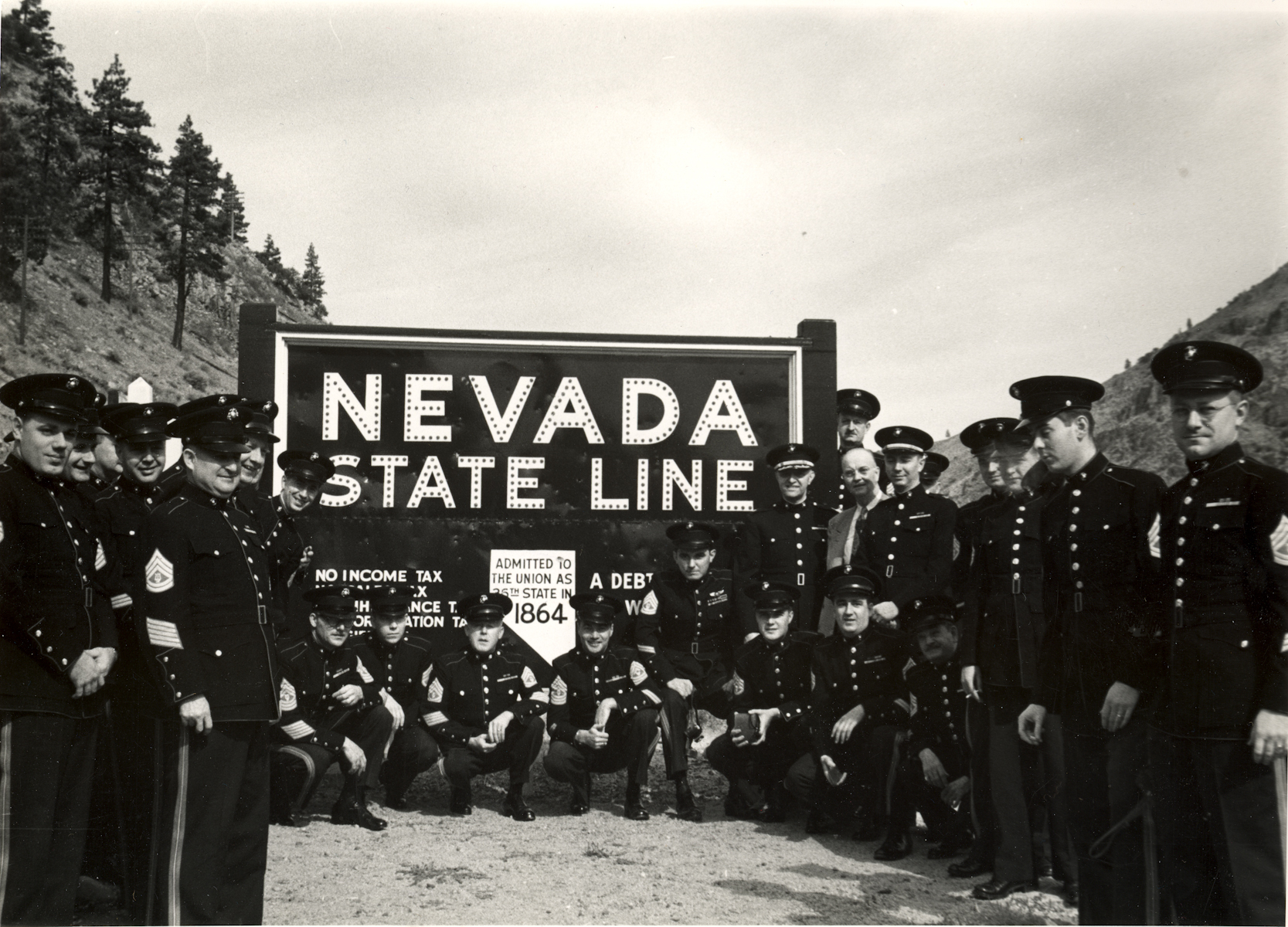 The Marine Band crosses into Nevada on the National Concert Tour, Oct. 18, 1951.